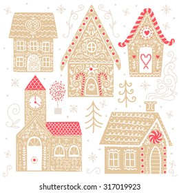 Set of cute vector gingerbread houses