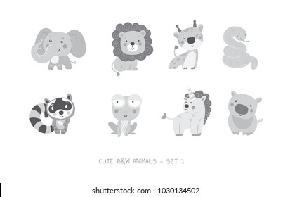 Set of cute vector grayscale animals