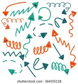 Set of cute vector hand drawn arrows