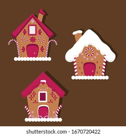 Set of Cute Vector Holiday Pink Gingerbread Houses
