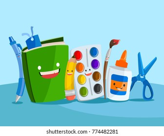 A set of cute vector illustrations of happy school supplies