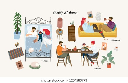 Set of cute vector illustrations of people in everyday life, happy family at home resting in the living room on the sofa, sleeping in the bedroom, eating in the kitchen, isolated objects of furniture