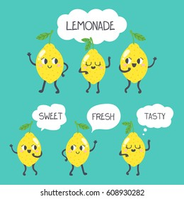 Set of cute vector lemons. Happy smiling character. Cartoon style. Dancing lemons with cute faces