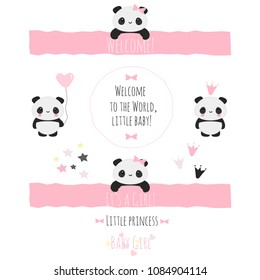 Set of cute vector objects for baby shower in girly pink theme with kawaii panda bears, perfect stuff for invitations, greeting cards, etc.