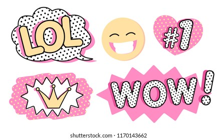 Set of cute vector stickers. Bubble for text, princess crown, WOW, LOL icons and laughing emoji. Pink color with black doodle stroke and dots. Pop art doll style. Photo booth props for birth party