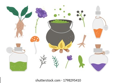 Set of cute vector witchcraft elements. Magic potion making objects. Halloween icons collection. Funny autumn all saints eve illustration with cauldron, herbs, bottles. Samhain party design for kids