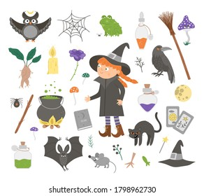 Set of cute vector witchcraft elements and witch. Halloween icons collection. Funny autumn all saints eve illustration with girl, black cat, spell book, broom, cauldron. Samhain party sign design