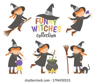 Set of cute vector witches. Halloween characters icons collection. Funny autumn all saints eve illustration with girl on a broom, with cauldron, cat, magic ball. Samhain party sign design for kids.
