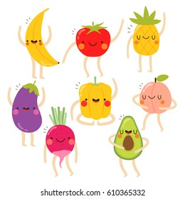 set of cute vegetables and fruits with funny faces on white background. funny vegetables and fruits set. can be used for greeting cards or posters