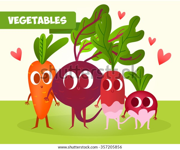 A set of cute vegetables. Illustration with funny characters. Healthy food. RAW.