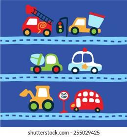 Set of cute vehicles. Vector illustration