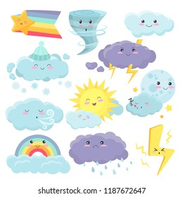 Set of cute weather icons with different emotions expression. Vector weather cartoon vidgets stickers set.