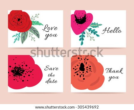 set cute wedding templates romantic flowers stock vector royalty