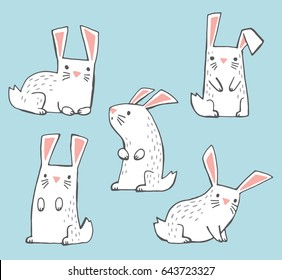 A set of cute white hand-drawn bunnies. Vector illustration.