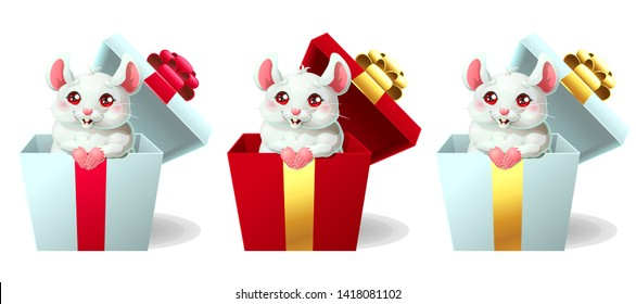Set the cute white and pink little mouse sits in the gift white and red box and bow. A cartoon vector illustration isolated on white.
