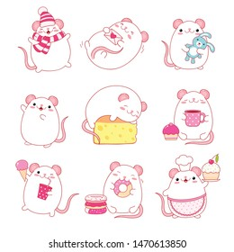 Set of cute white rats in kawaii style. Funny, happy, laughing, sleeping, running, eating, with toy, with letter, with cheese and donuts, ice cream and a glass of soda, in a hat and scarf. EPS8