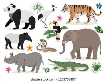 Set of cute wild animals and birds icon, decor for children, cartoon tiger, rhinoceros, panda, elephant, alligator, hornbill, cobra, crane, tapir vector illustration isolated on white background