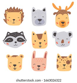 Set of cute wild animals faces, bear, deer, wolf, rabbit, hedgehog. Isolated vector illustration animals for baby, kids, child project design. Hand drawn cute style.
