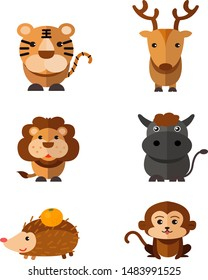 Set of Cute Wild animals isolated on white background