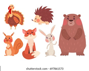 Set of cute wild animals and a turkey bird isolated on white background.