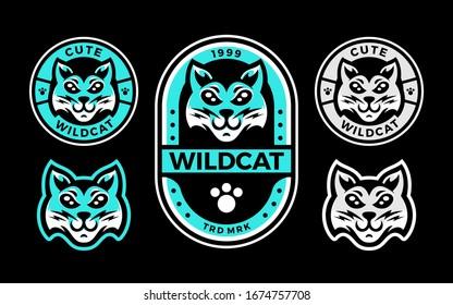 Set of cute wildcat head logo mascot