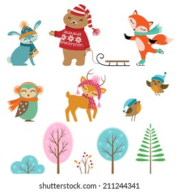 Set of cute winter animals and trees for your design.