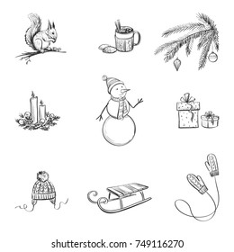 Set of cute winter and christmas hand drawings on a white background.