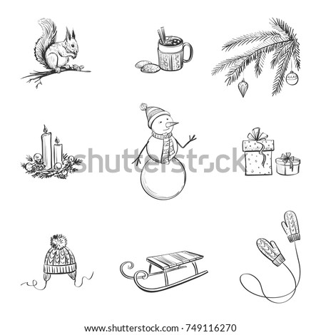 set cute winter christmas hand drawings stock vector royalty free