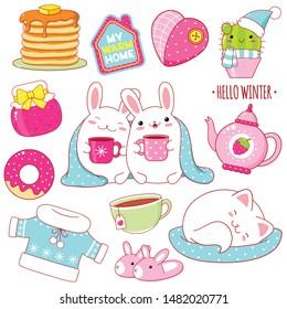 Set of cute winter stickers in kawaii style. White rabbits with cups, sleeping cat, teapot, donut, cactus in a scarf and hat, sweater, slippers, jam, pancakes, heart shaped pillow. EPS8