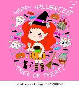 Set of cute witch in colorful card. Happy Halloween. Vector Illustration.