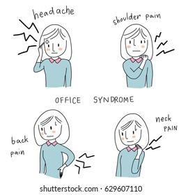 Set of cute woman suffering pain from sick building syndrome or office syndrome such as headache, shoulder pain, back pain, neck pain. Vector illustration with hand-drawn style.