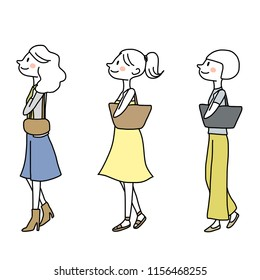 Set of cute women in different fashion style rambling and looking up. Side view of stylish girls strolling and looking ahead. Vector illustration with hand-drawn style isolated on a white background.