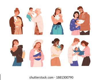Set of cute women and families with newborn baby. Collection of different children with happy parents feeling love isolated vector flat illustration. Mother, father and kids embracing each other