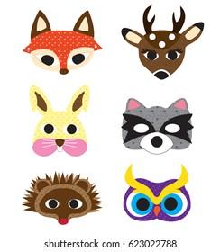 Set of cute woodland animals isolated on white background. Woodland animals masks