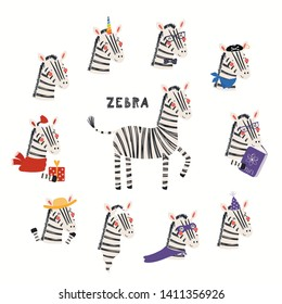Set of cute zebra illustrations, pirate, superhero, unicorn, Christmas, ghost, reading. Isolated objects on white background. Hand drawn vector. Scandinavian style flat design. Concept children print.