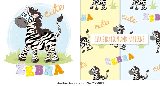 Set of cute zebra and patterns. Illustration and two patterns
