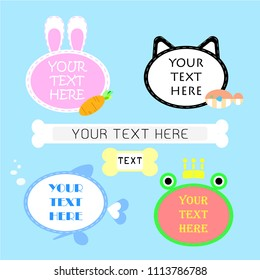 set of cute,kawaii,sweet,colorful,pastel   animal pet speech bubble balloon think,speak,talk,flat,design,vector,illustration text box banner with bunny rabbit and carrot, cat and fish, and frog