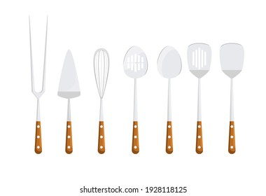 A set of cutlery for cooking. Barbecue, barbecue house. Spoons, whisk, spatulas