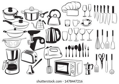 Set of cutlery and elements for the kitchen. Collection of culinary tools. Black and white windy illustration of cookware and kitchen equipment.