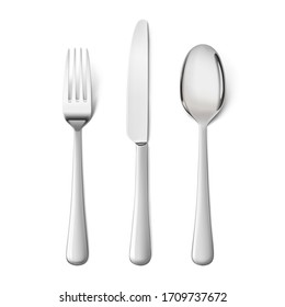 Set cutlery of fork, spoon. Hight realistic vector illustration isolated on white background. Ready for your design. EPS10.