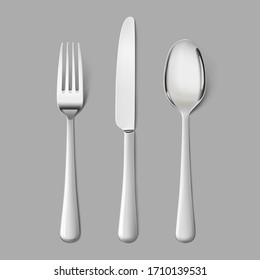 Set cutlery of fork, spoon. Hight realistic vector illustration on grey background. Ready for your design. EPS10.