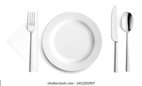 Set cutlery of fork, spoon and plate. Vector illustration on white background. Ready for your design. EPS10.