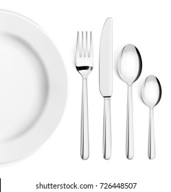 Set of cutlery of fork, spoon and plate. Vector illustration on white background. Ready for your design.