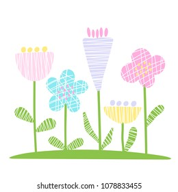 Set of cutout florals, spring time abstract pretty colorful design, modern decoration vector flowers