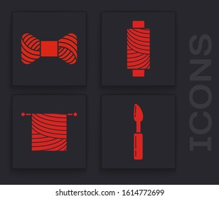 Set Cutter tool, Sewing thread on spool, Sewing thread on spool and Knitting icon. Vector