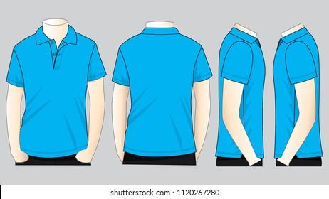 Set Cyan Polo Shirt for Template