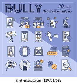 Set of Cyber bullying 20 icons