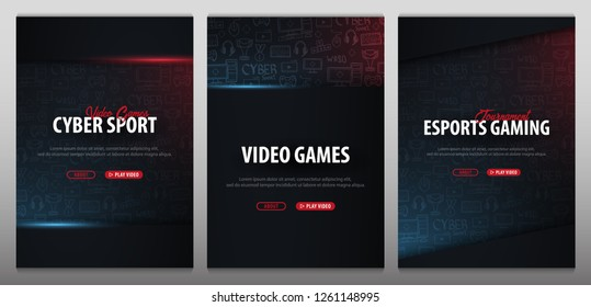 Set of Cyber Sport banners. Esports Gaming. Video Games. Live streaming game match. Vector illustration