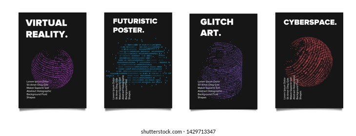 Set of cyberpunk/ vaporwave/ synthwave style futuristic posters with binary code and 3d figures. Collection of covers for music, hackathon or informational security event.
