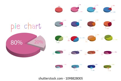 Set of cycle percentage flow diagrams, pie chart for Your documents, report, presentations for,infographics, 0 5 10 15 20 25 30 35 40 45 50 55 60 65 70 75 80 85 90 95 100 percent. Vector illustration.